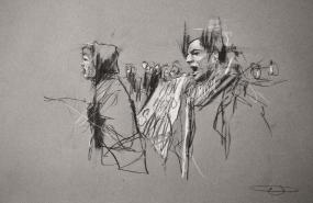 'occupy (vie di Bologna)', conte and pastel on paper, 50 x 33cm
