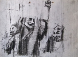 'occupy Wall Street (countdown to the 15th)', conte and pastel on paper, 21 x 29cm