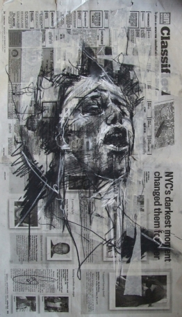 'occupy Wall Street (the sound of free speech)', conte and pastel on newsprint, 30 x 54cm