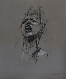 'occupy Wall Street (this did not happen)', conte and pastel on paper, 26 x 30cm
