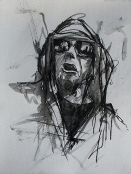 'occupy Wall Street (well maybe - just fucking maybe)', conte and pastel on paper, 24 x 32cm