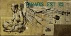 'paradis est ici (29)', conte and pastel on newsprint, 175 x 88 cm