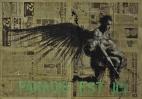 'paradis est ici (36)', conte and pastel on newsprint, 120 x 84 cm