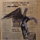 'paradis est ici (40)', conte and pastel on newsprint, 30 x 30 cm