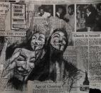 'plus ça change, plus c'est la même chose', conte and pastel on newsprint, 33 x 30cm