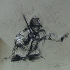 'public servant', conte and pastel on paper, 21 x 21cm