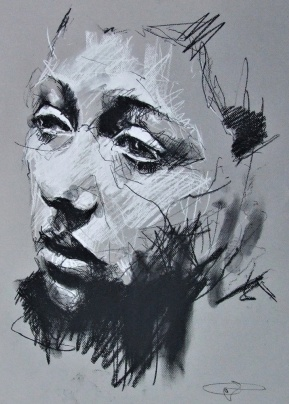 'Savenay', conte and chalk on paper, 50 x 65cm