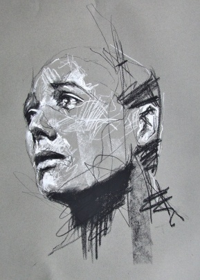 'Somme', conte and chalk on paper, 50 x 65cm