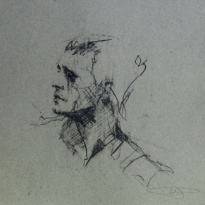 """""""student with eye injury"""", conte on paper, 21 x 21cm"""