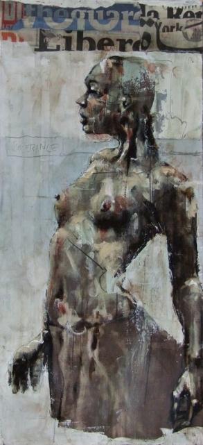 'the cardinal virtue of media temperance', oil on board, 50 x 23 cm, 2008