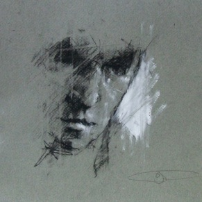 """""""the gullibles travels (all in this together again)"""", conte and chalk on paper, 21 x 21cm"""