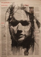 """the gullibles travels (another dead veiled girl)"", conte on newsprint, 23 x 31cm"