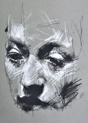 'The Penal Laws', conte and chalk on paper, 50 x 65cm