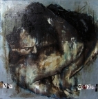 'vassi caggendo e quant ella piu ngrossa tanto piu trova di can farsi lupi la maladetta e sventurata fossa', oil on board, 50 x 50cm