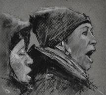 '16 january', conte and chalk on paper, 11 x 10 cm