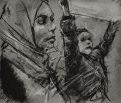 '23 january', conte and chalk on paper, 13 x 15 cm
