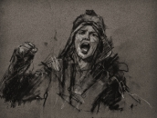 '24 january', conte and chalk on paper, 15 x 19 cm