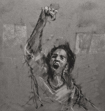 '27 january', conte and chalk on paper, 16 x 17 cm