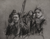 '7 january', conte and chalk on paper, 19 x 15 cm