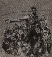 '8 january', conte and chalk on paper, 11 x 11 cm