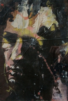 'broken', oil on canvas with fractured glass, 21 x 29cm