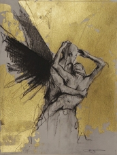 'William saw angels 1', conte and gold-leaf on paper, 25 x 30 cm
