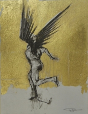 'William saw angels 10', conte and gold-leaf on paper, 25 x 30 cm