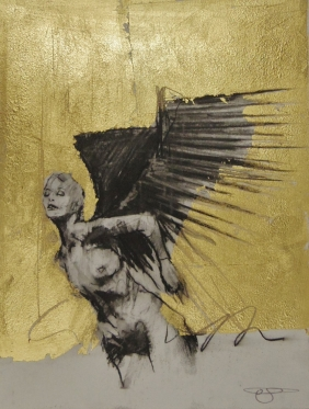 'William saw angels 11', conte and gold-leaf on paper, 25 x 30 cm