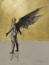 'William saw angels 12', conte and gold-leaf on paper, 25 x 30 cm