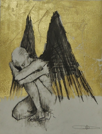 'William saw angels 14', conte and gold-leaf on paper, 25 x 30 cm