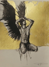 'William saw angels 2', conte and gold-leaf on paper, 25 x 30 cm