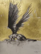 'William saw angels 4', conte and gold-leaf on paper, 25 x 30 cm