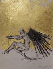 'William saw angels 9', conte and gold-leaf on paper, 25 x 30 cm