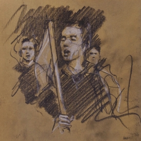 '2 march' conte and chalk on paper, 2017