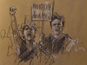 '9 march' conte and chalk on paper, 2017