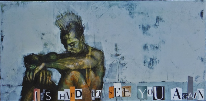'it's hard to see you again (because we were angels)', mixed media on canvas, 20 x 40 cm, 2017