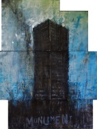 """Monument"", conte and aerosol on canvas, 120 x 80 cm, 2017"