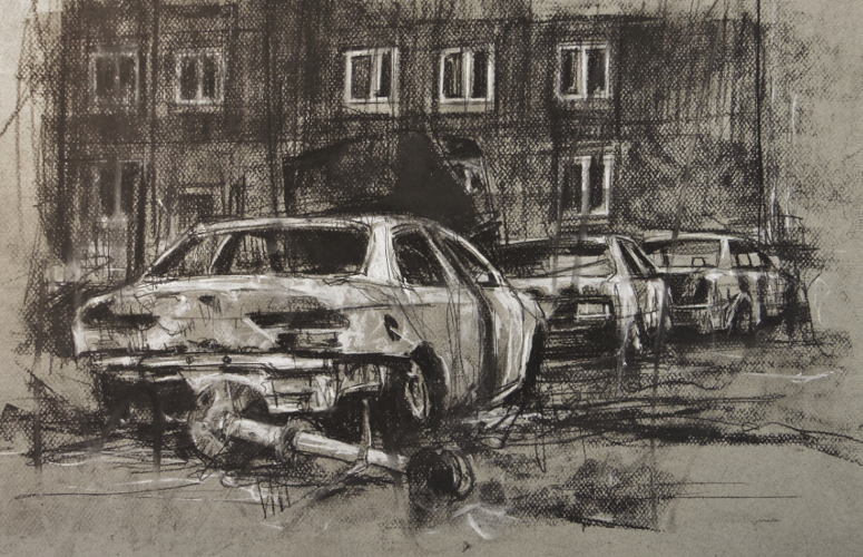 'american history drawing' conte on paper, 30 x 50 cm
