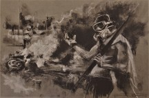 June 'Toma de Caracas', conte and chalk on paper, 50 x 32 cm, 2017