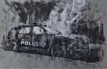 September 'campus fire', conte and chalk on paper, 50 x 32 cm, 2017