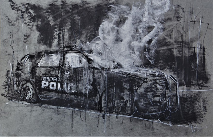 3454 'campus fire', conte and chalk on paper, 50 x 32 cm, september 2017