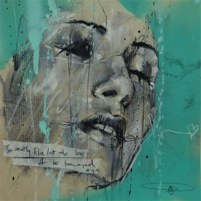 'So saintly Elise lost the love of her teenaged eye', pastel and spraypaint on paper, 23 x 23 cm