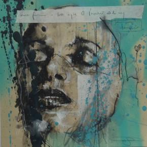 'ever frozen in lost myth of L'important est de ne jamais désespérer', pastel and spraypaint on paper, 23 x 23 cm