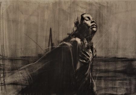 'raining sunshine', compressed charcoal on paper, 50 x 40 cm