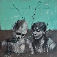 'Cours, camarade, le vieux monde est derrière toi' compressed charcoal,conte, pastel and paint on paper, 50 x 50 cm