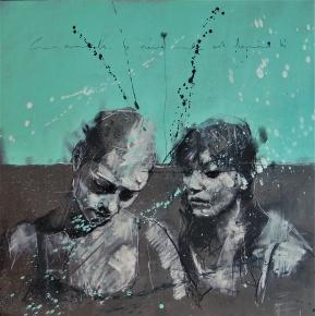 'Cours, camarade, le vieux monde est derrière toi' conte, pastel and paint on paper, 50 x 50 cm