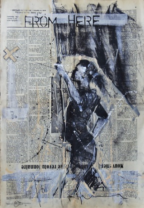 'From here to there' compressed charcoal,conte, pastel and paint on newsprint, 54 x 37 cm