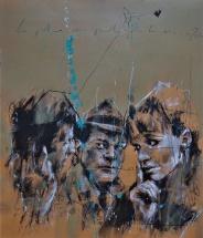 'La police vous parle tous les soirs à 20h' compressed charcoal,conte, pastel and paint on paper, 40 x 50 cm