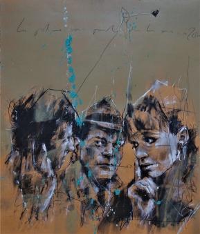'La police vous parle tous les soirs à 20h' conte, pastel and paint on paper, 40 x 50 cm