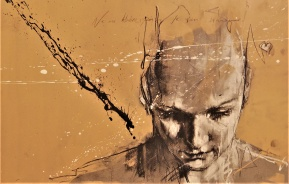 'ne me libere pas, je m'en charge' compressed charcoal,conte, pastel and paint on paper, 30 x 52 cm